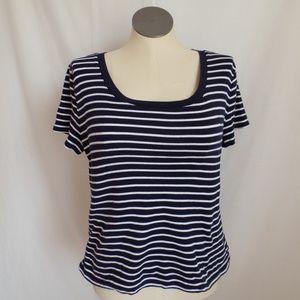 Ralph Lauren Blue stripe Scoop Neck Knit Top XL
